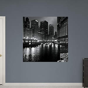 Chicago River at Night by Keith Dotson Fathead Wall Decal